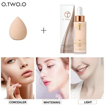 O.TWO.O Liquid Foundation makeup Moistureizing Whitening Concealer Oil-control no.1 Powder Foundation And Makeup Sponge Cosmetic