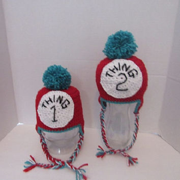 Twin Hat Set,Thing 1 and thing 2,crocheted hats,Photo prop,babies photo prop,newborn photo prop,birth announcement,shower gift,Dr. Seuss hat