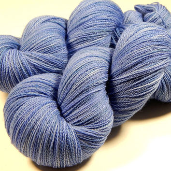 Hand Dyed Yarn - Lace Weight Superwash Merino Wool Yarn - Delphinium - Knitting Yarn, Lace Yarn, Wool Yarn, Periwinkle Blue