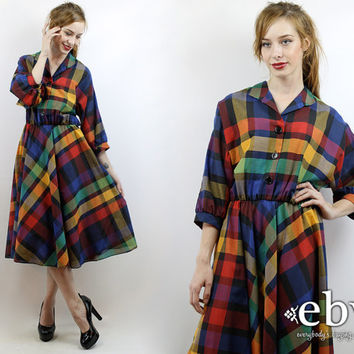 Vintage 80s Rainbow Plaid Midi Dress L XL Vintage Plaid Dress Rainbow Plaid Dress Plaid Day Dress Work Dress Rainbow Dress