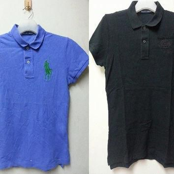 sale Lot Of Two (2)Vintage Ralph Lauren Skinny Polo Style Casual Golf Polo Shirt for G