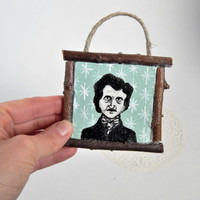 Rustic Christmas Ornament // Edgar Allan Poe // Literature Ornament // Holiday Decor // Christmas Tree Ornament // Stocking Stuffer