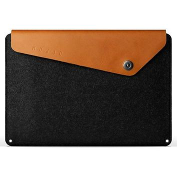 Tan Leather Felt Hybrid Macbook Pro Case