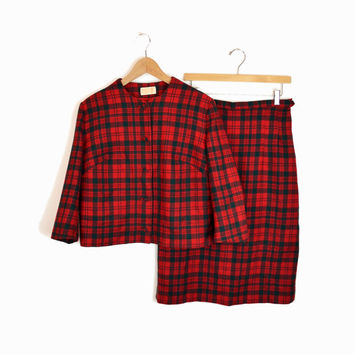 PENDLETON Vintage Red Plaid Wool Two-Piece Skirt Suit Set - Large
