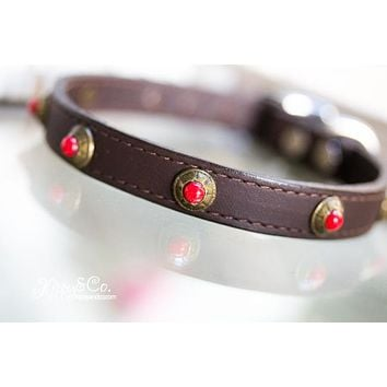 Leather Collar with Red Turquoise Conchos