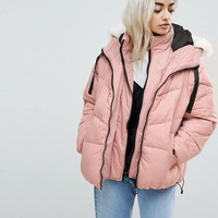River Island Petite Double Layer Padded Jacket at asos.com