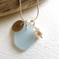 Personalized Pale Blue Sea Glass Necklace  by thestrandline