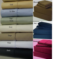 Solid 450 Thread count King Cal-King Waterbed Sheets With Pole Attachments