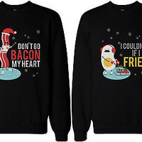 His and Hers Funny Matching Couple Sweatshirts - Bacon and Egg Winter Edition