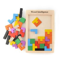 Wooden Toys Tangram Brain Teaser Kids Toy Tetris Game Educational Muti-Color Wooden Puzzle Toys