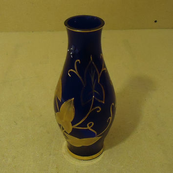 Designer Decorative Vase 10in H x 4 1/2in Diameter Blues/Golds Glass -- Used