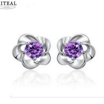 Silver Plated Floral Stud Earrings With Purple Cubic Zirconia #103