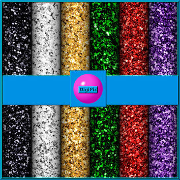 "COMMERCIAL USE OK 6 Digital Christmas Chunky Glitter Scrapbook Papers, 12""x12"" 300Dpi Instant Download"
