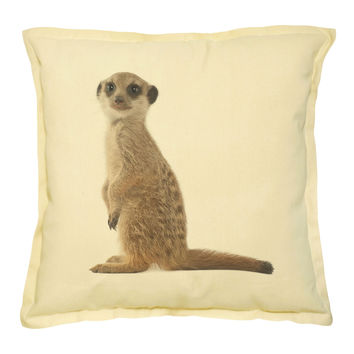 Meerkat Printed Khaki Decorative Throw Pillows Cushion Case VPLC_02 Size 18x18