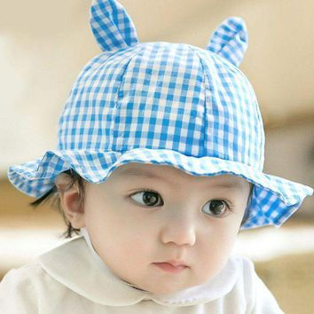 PEAP78W Toddler Infant Sun Cap Summer Baby Girls Plaid Cut Ear Hats Sun Beach Hats LH6s