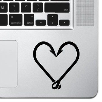 "Fish Hook Heart Sticker Decal MacBook Pro Air 13"" 15"" 17"" Keyboard Keypad Mousepad Trackpad Laptop Retro Vintage Fishing Sticker Outdoors"