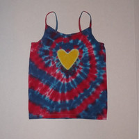 Girl's Tie Dye Heart Swirl Spaghetti Strap Tank Top - Any Size & Color Combination Available