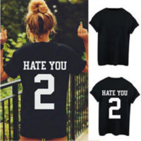 "Sweethearts outfit T-shirt""HATE YOU 2"" short-sleeved summer number Black"