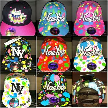 Splash snapback caps, bling flat peak baseball fitted hats, hip hop NY fresh