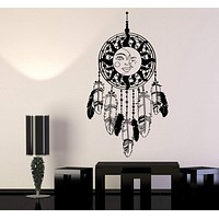 Vinyl Wall Decal Dreamcatcher Protective Amulet Moon Sun Feathers Stickers Unique Gift (1117ig)