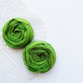 Green Fabric Roses Handmade Appliques Embellishment Set of 2