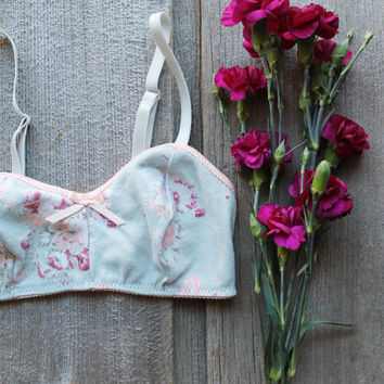 Rustic Floral 'Sage' Pastel Soft Bra Handmade Lingerie Ready to Ship