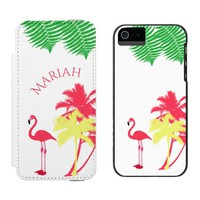 Pink trendy flamingo tropical summer and palms wallet case for iPhone SE/5/5s