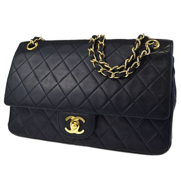 Auth CHANEL CC Matelasse Double Flap Chain Shoulder Bag Leather Black 53ED124