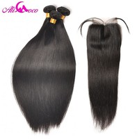 Ali Coco Hair Brazilian Straight Hair With Closure 4*4 Middle Part Human Hair 3 Bundles With Lace Closure Non Remy Hair