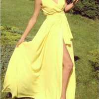 Yellow Sleeveless V Neck Slit Chiffon High Waist Maxi Dress