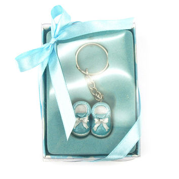 Keychain Favors, 4-inch, Baby Shoes, Light Blue