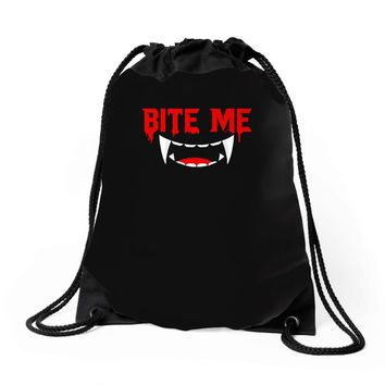 bite me halloween vampire teeth Drawstring Bags