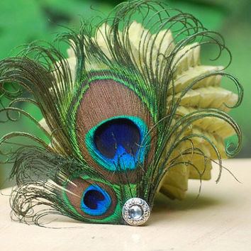 Peacock Duo Hair Clip / Comb. Sparkly Elegant Big Day Wedding Wear, Christmas Feather Glitz & Glam Accessory, Feminine Girly Party Statement