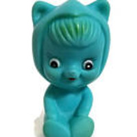 Vintage Rubber Toy Blue Squirrel Big Eyes Costumed Girl 50's or 60's Toy