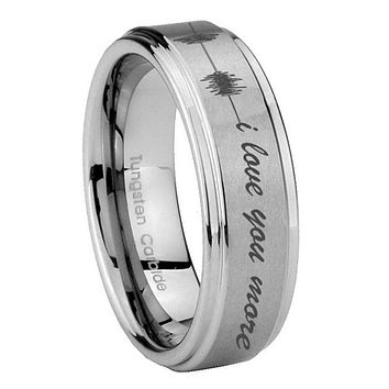 8MM Sound Wave i love you more more Step Edges Silver Tungsten Carbide Laser Engraved Ring