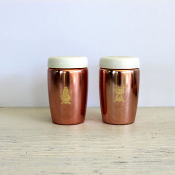 vintage aluminum salt and pepper shakers // west bend // mid century // pink or copper tone