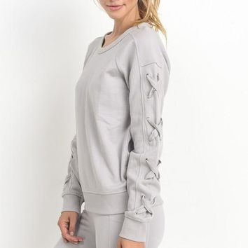 Fleece Top with Lace Sleeve accent - Light Grey