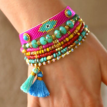 SS14 Evil Eye Bracelet,Beadwork,Beadweaving,Swarovski,Silk Tassel Charm,Gemstone,Bohemian Indian Boho Chic Multiple rows Friendship Bracelet