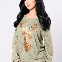 You're Too Deer To Me Sweater - Olive