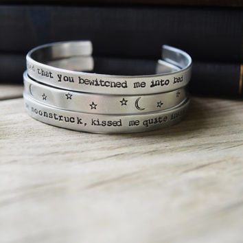 Sylvia Plath Quote Bracelet Set (3) - Modern - Romantic - Looks Like Silver - Valentine's Day - Under 50 - Poetry - Poem - Love