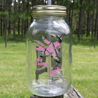 Personalized Pink Camo Deer Head Mason Jar Tumbler with name