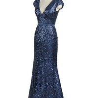 Elegant Mermaid Sequins V-neck Cap Sleeves Belt Floor Length Mother Dress