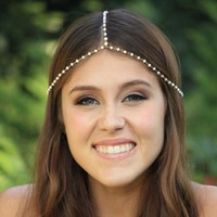 Women Chain Jewelry Headband Head Shiny Piece Hair Band Tassels Pearl