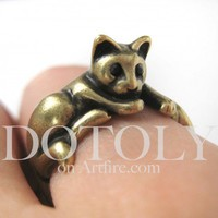 Miniature Kitty Cat Relaxing Ring in Bronze Sizes 5 to 9 available | dotoly - Jewelry on ArtFire