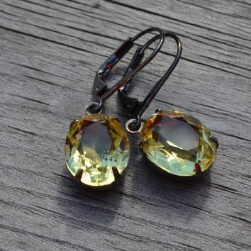 Jonquil Rhinestone Estate Earrings, Gunmetal Lever Back, Vintage Yellow, Bridesmaid Wedding Party