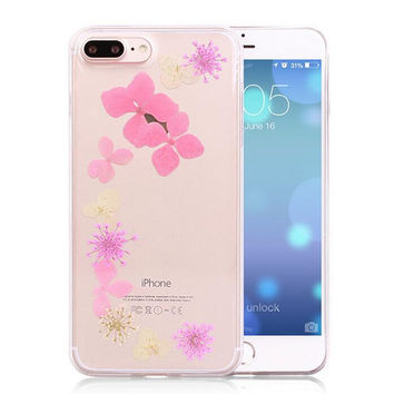 Summer Pressed Flower Case Real Dried Flowers Phone Case LIMITED Handmade Cover for iPhone 7 7Plus & iPhone se 5s 6 6 Plus +Gift Box 263