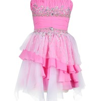 Dresstells Lovely Pink Strapless Prom Dress with Beadings and Tulle for Women