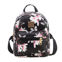 Fashion Women Floral Printing Leather Backpack School Bags for Teenage Girls Lady Travel Small Backpacks Mochila Feminina