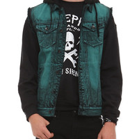 XXX RUDE Turquoise Cloud Wash Hooded Denim Vest
