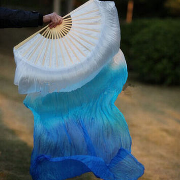 Free shipping belly dance Fan Veils colorful 100% silk fan Veil 3 colors White Turquoise Blue
